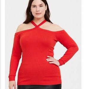 Torrid ORANGE CRISSCROSS COLD SHOULDER TOP 0